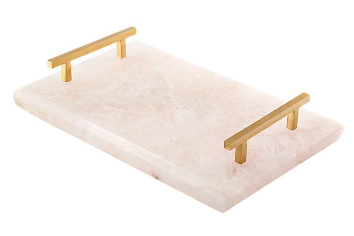 cb2 rose quartz tray