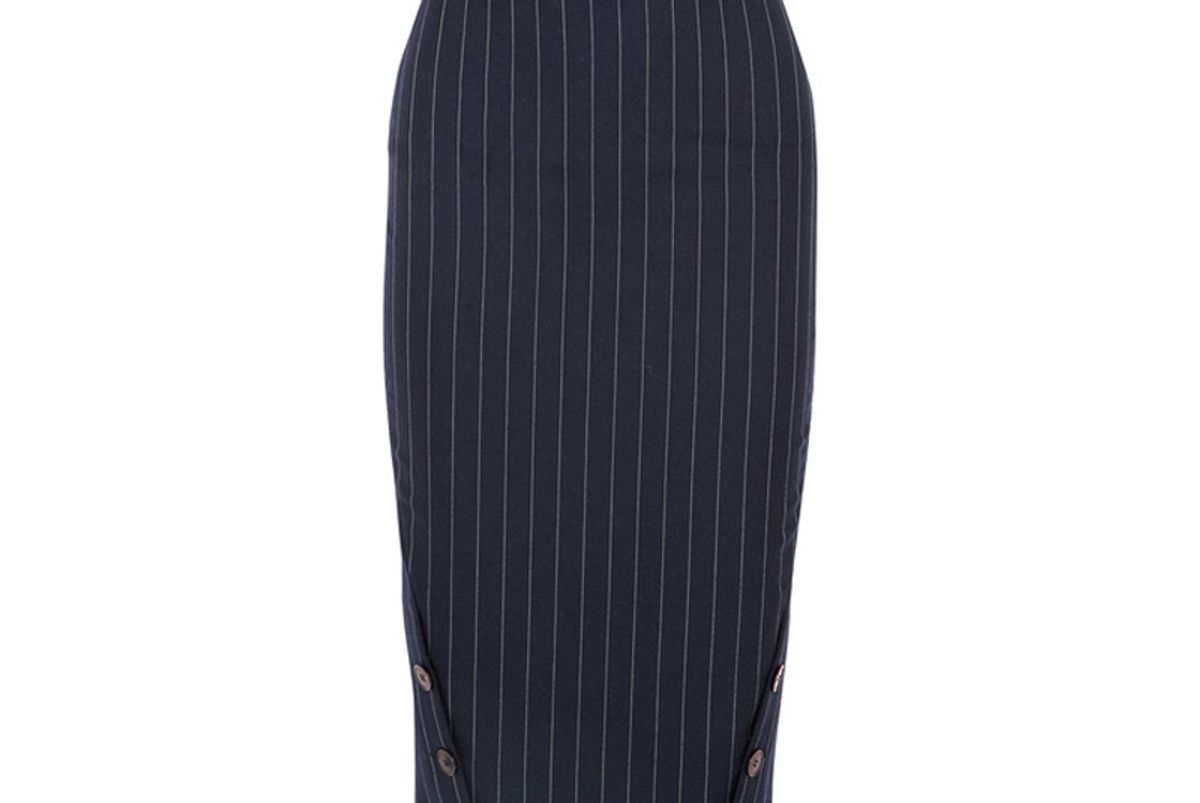 Pinstriped Wool Pencil Skirt