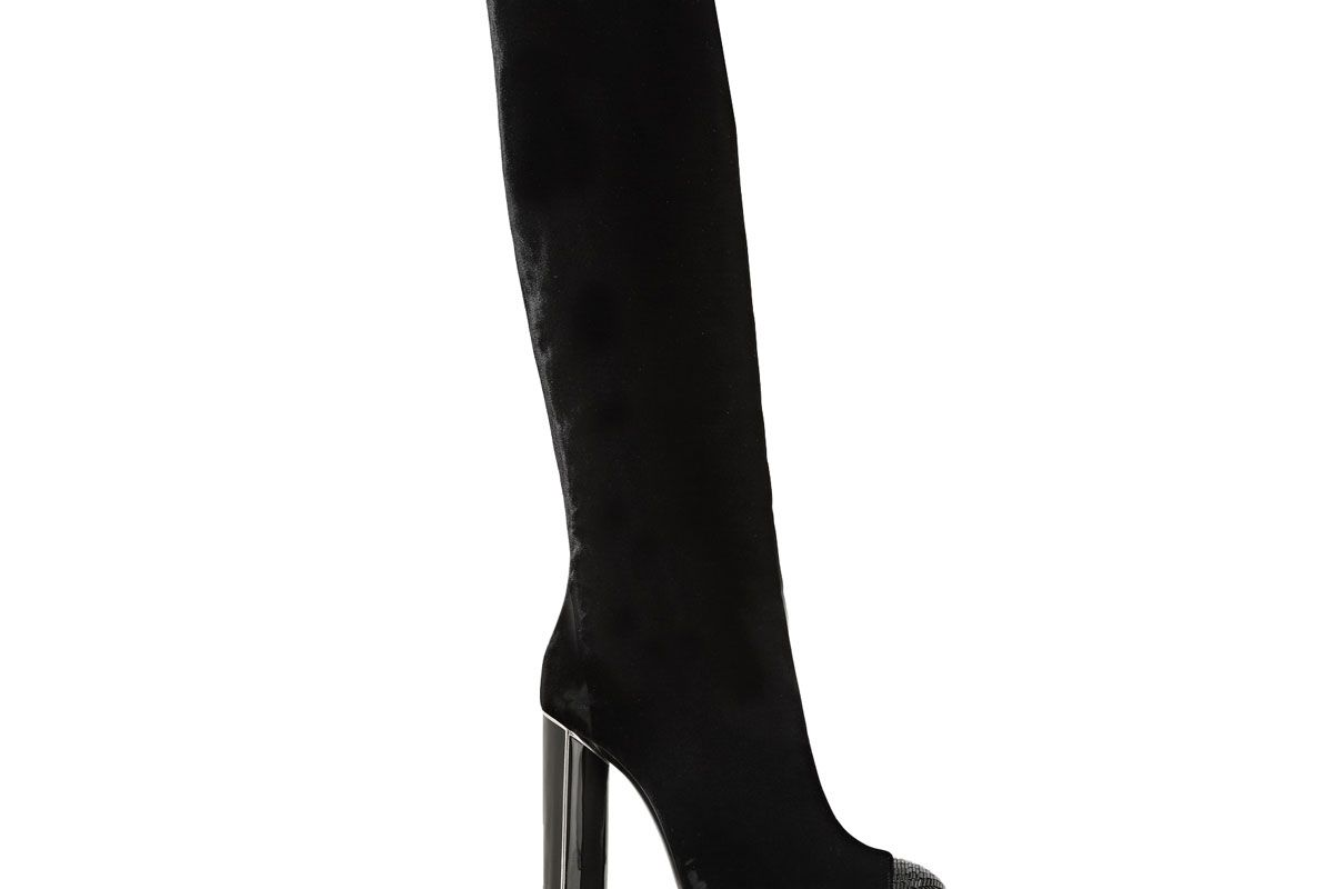 Bead-Embellished Velvet Over-the-Knee Boots
