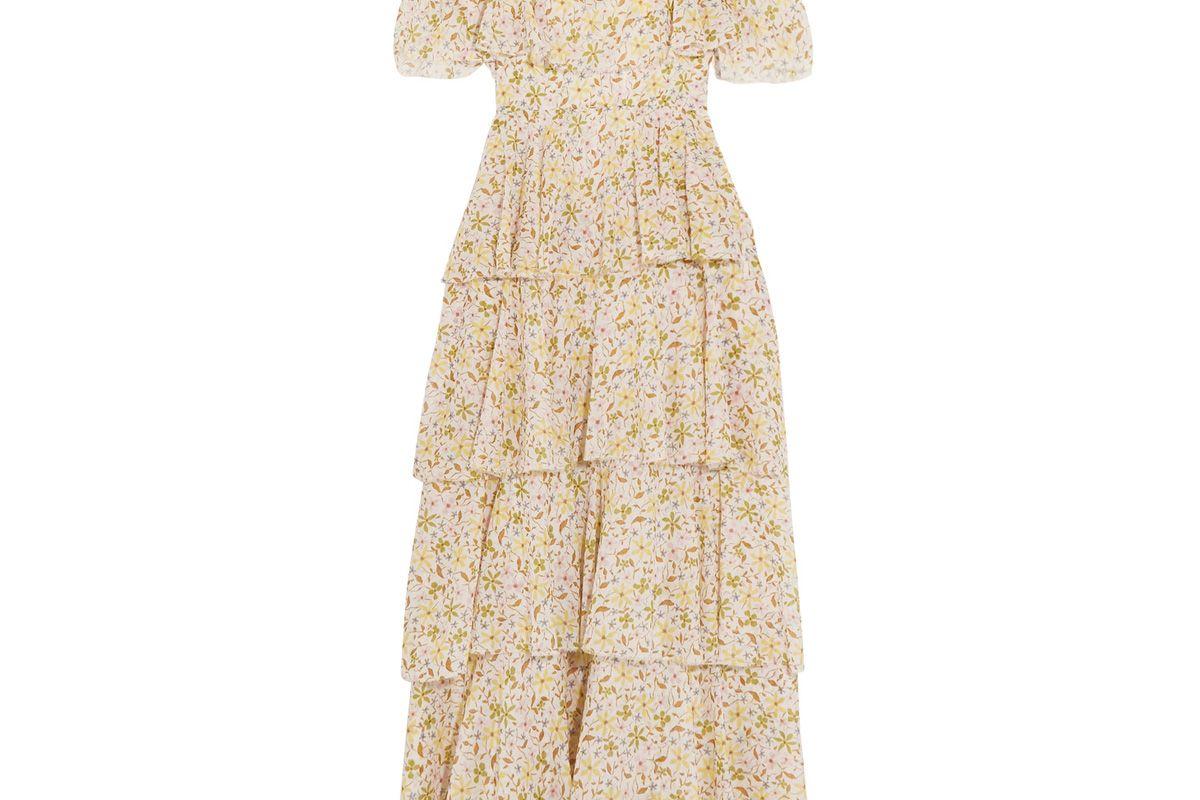 Cold-Shoulder Tiered Floral-Print Cotton-Voile Midi Dress