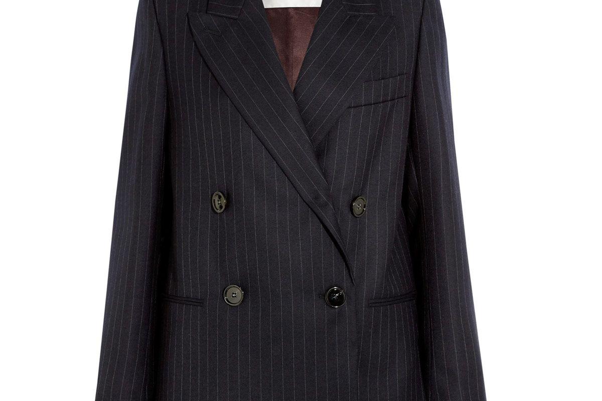 Jara Double-Breasted Pinstriped Wool-Twill Blazer