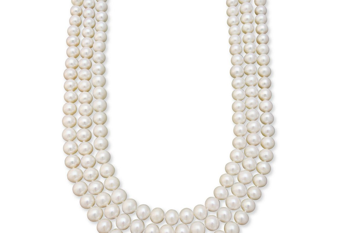 Gold Necklace, Three Row Cultured Freshwater Pearl