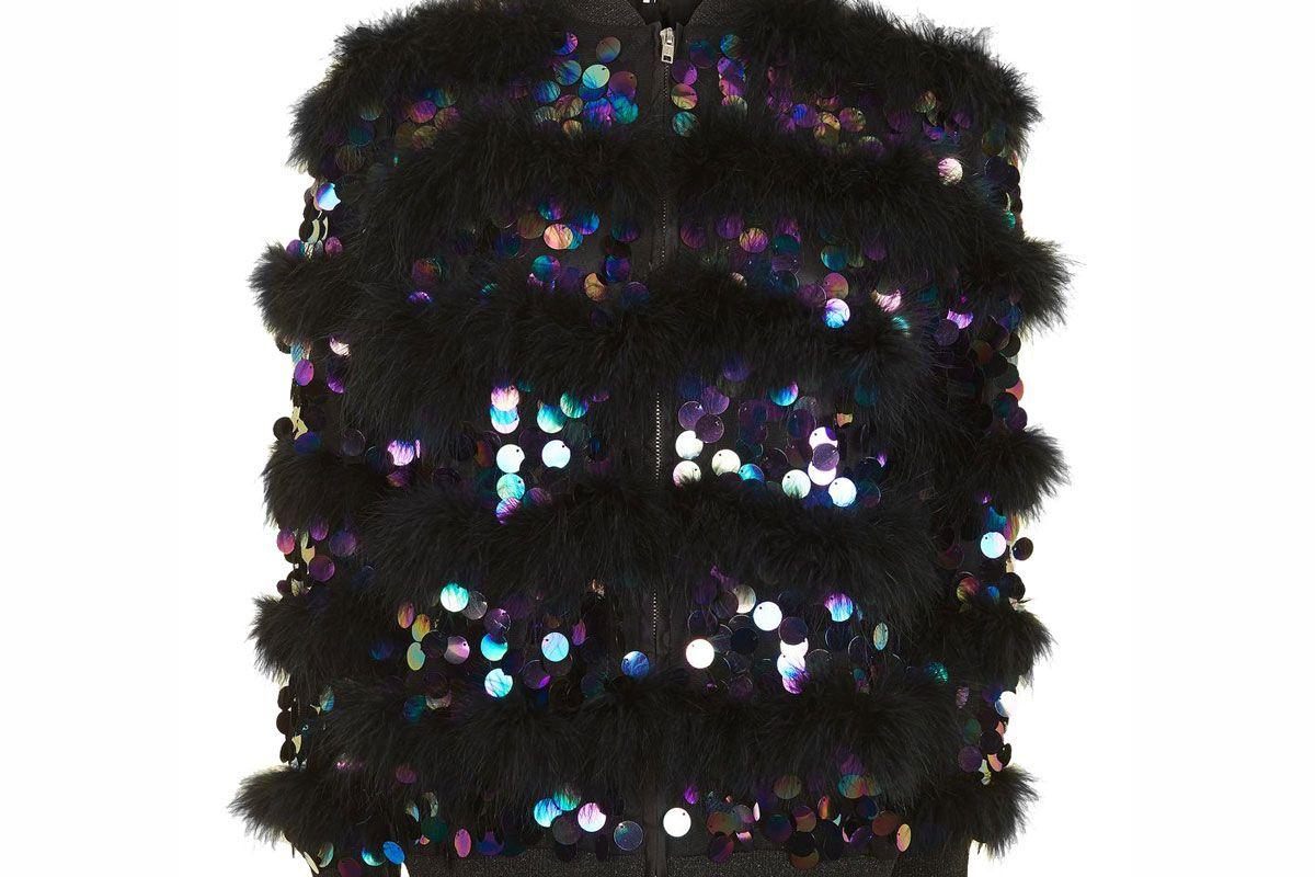 Sequin Marabou Feather Jacket