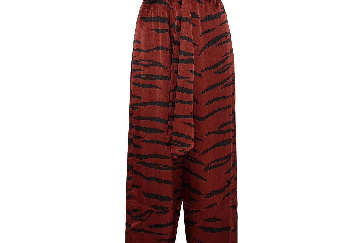 Iona Printed Stretch-Silk Satin Wide-Leg Pants