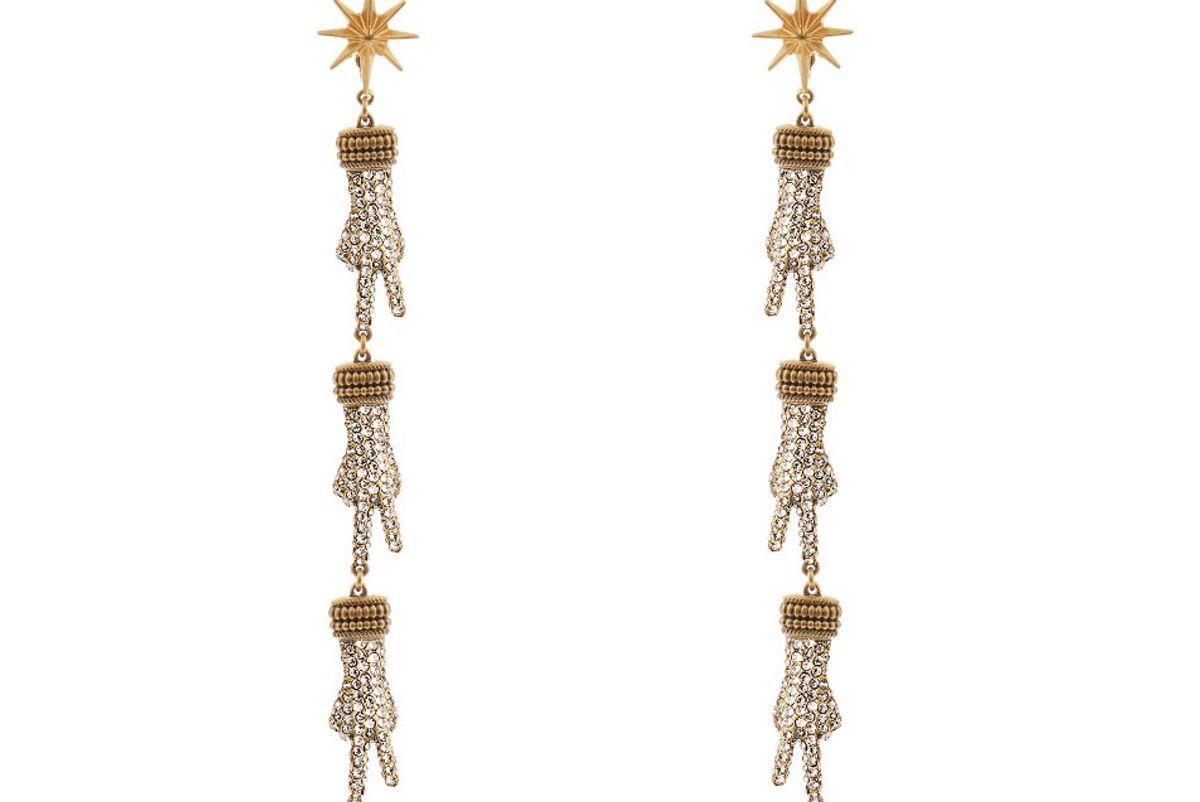 Crystal-Embellished Hand Drop Earrings