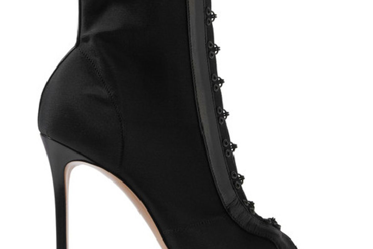 Leather-trimmed stretch-faille boots