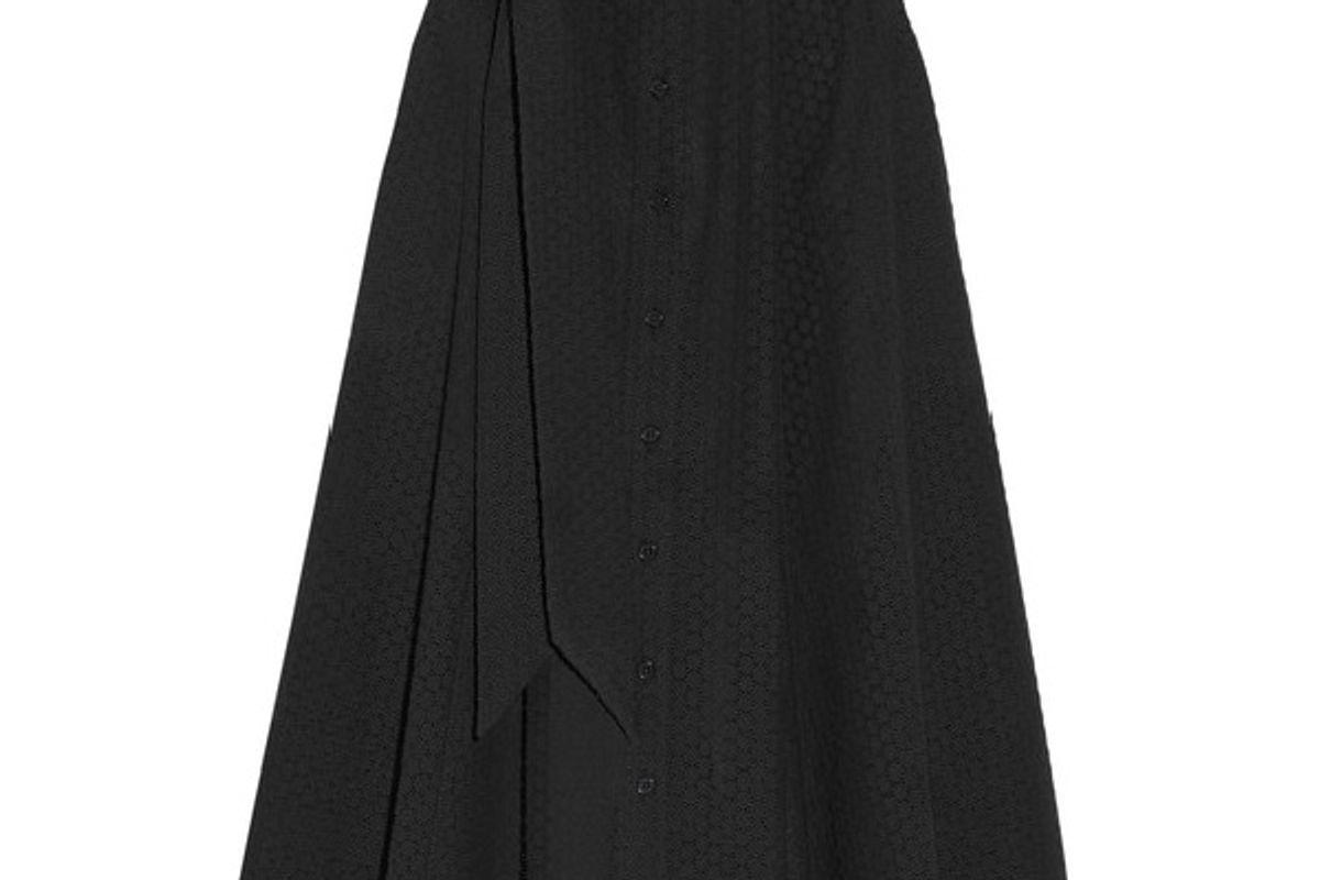 Broderie anglaise cotton midi skirt
