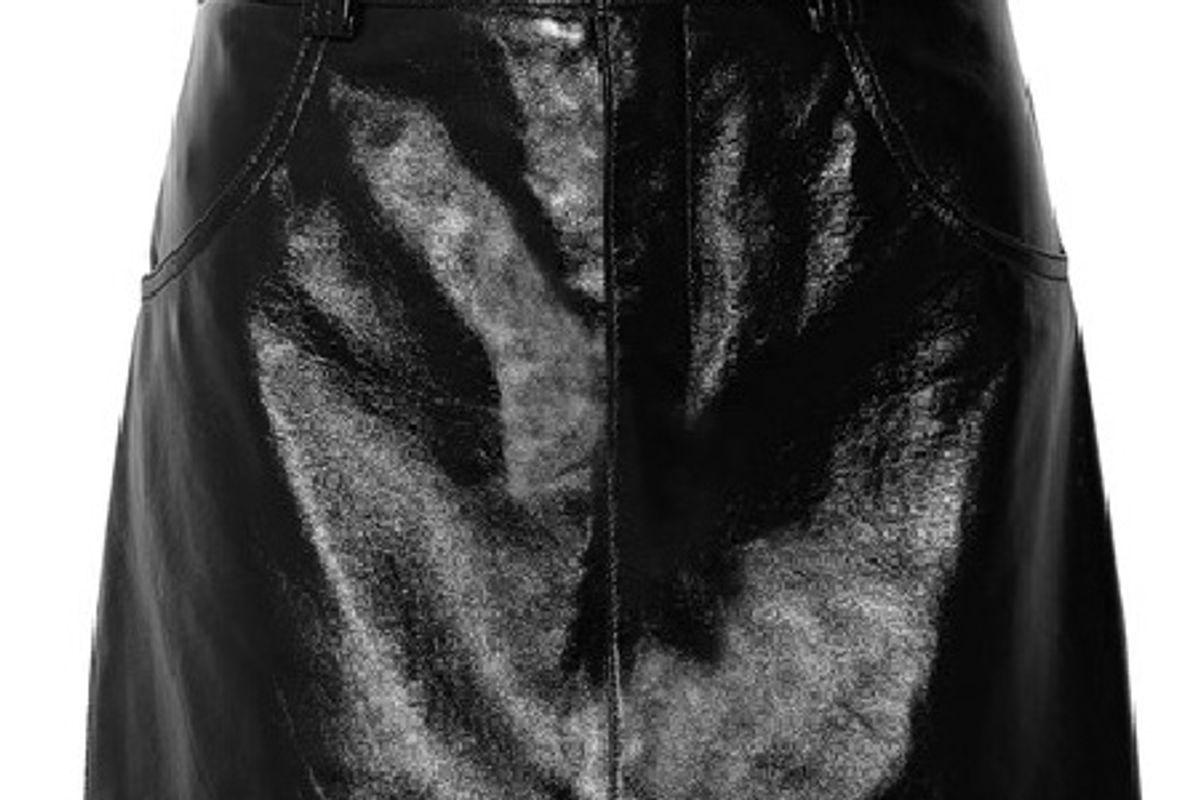 Glossed-leather mini skirt