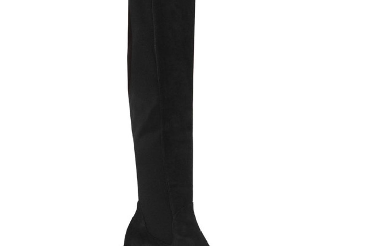 Halftime suede and stretch-crepe over-the-knee boots