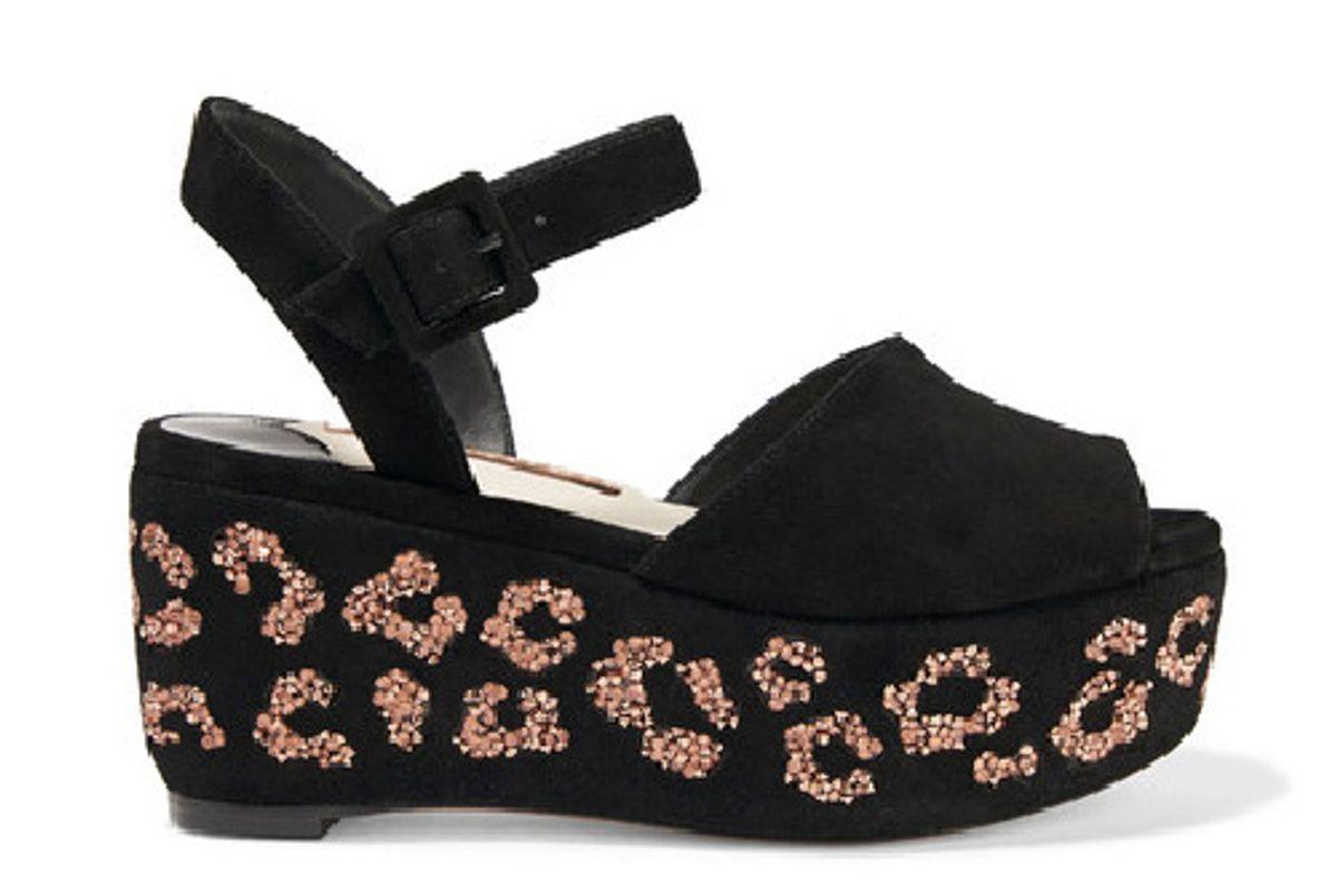 Suki crystal-embellished suede platform sandals