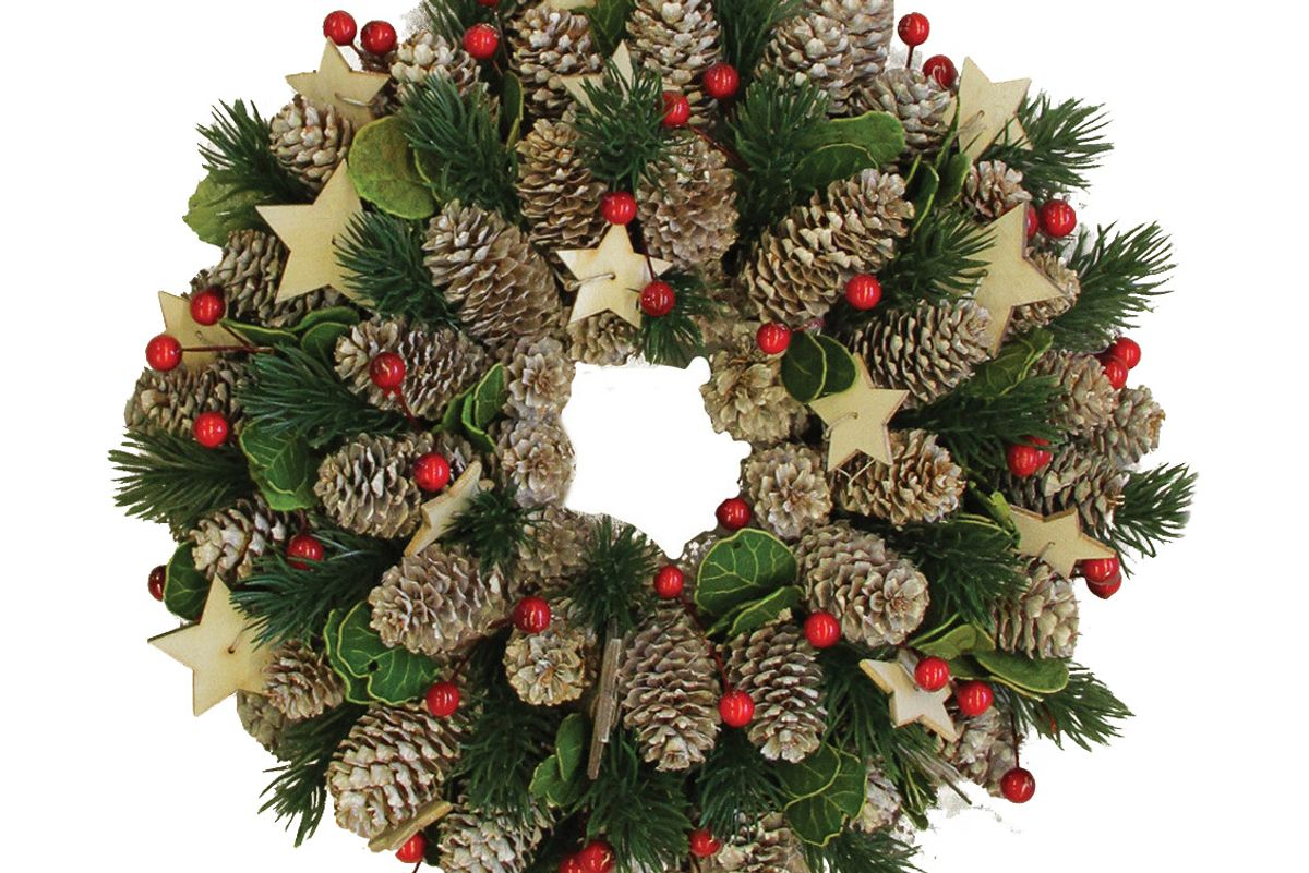 Artificial Pine Cone and Berry Christmas Wreath