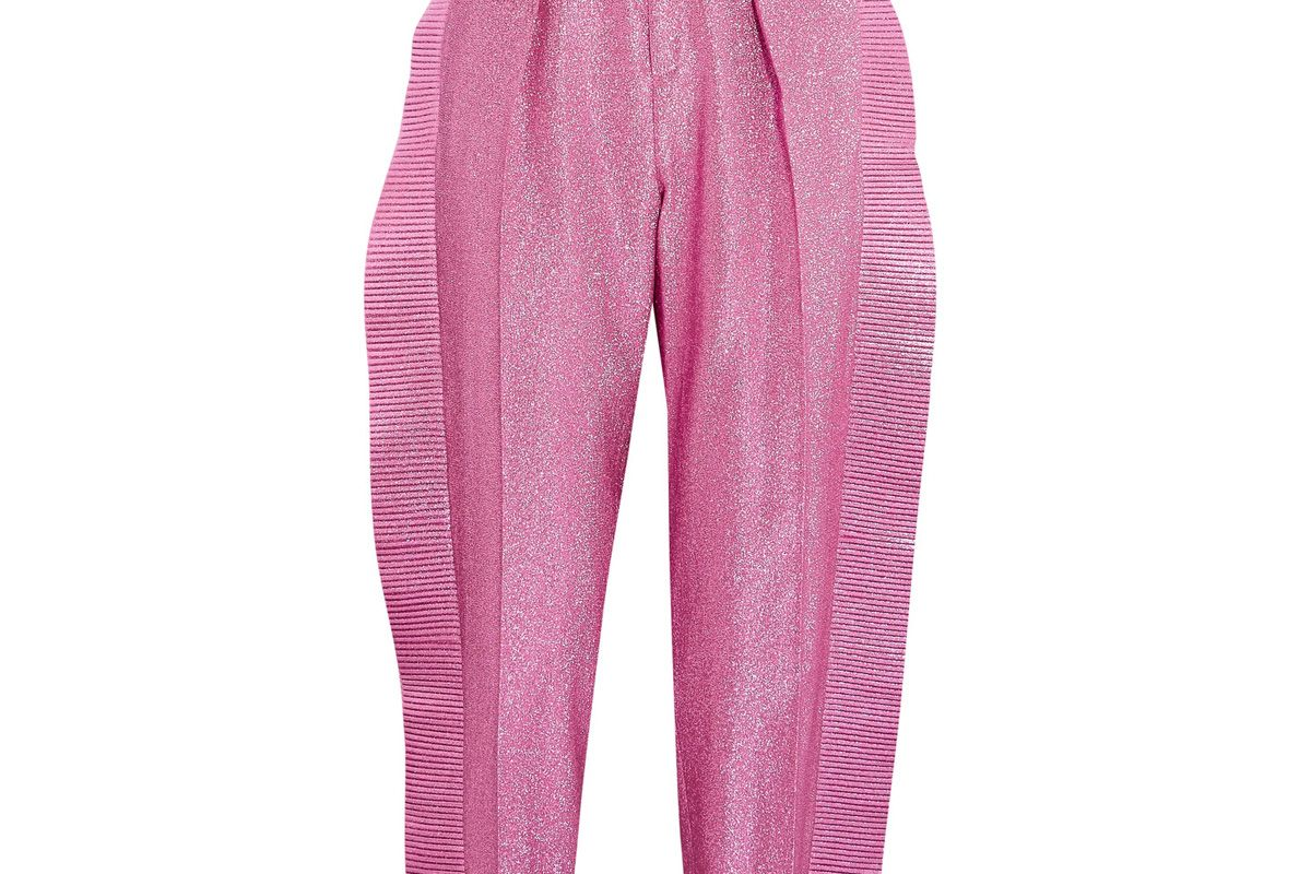 Ruffled Cropped Metallic Tapered Pants