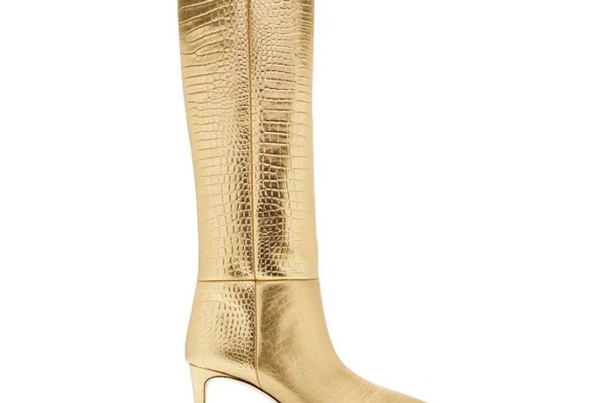 paris texas croc effect metallic leather tall boots