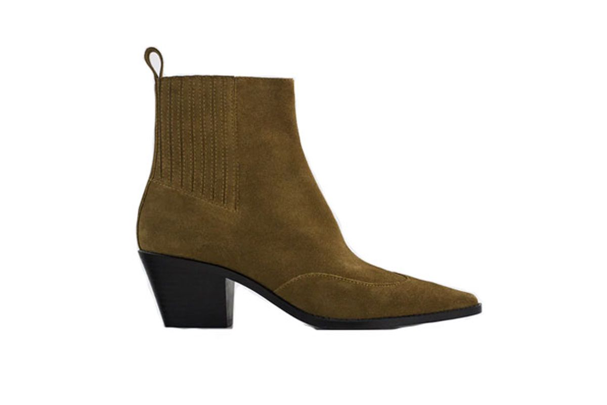 zara split leather heeled cowboy ankle boots