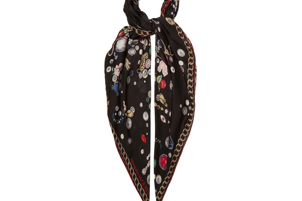 alexander mcqueen jewel print silk satin scarf