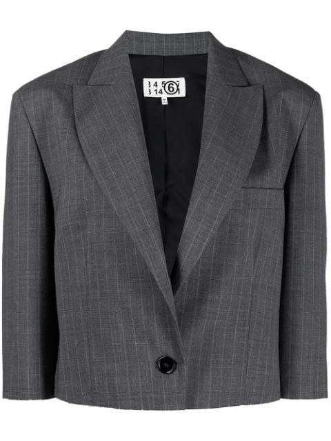 Cropped Pinstriped Blazer