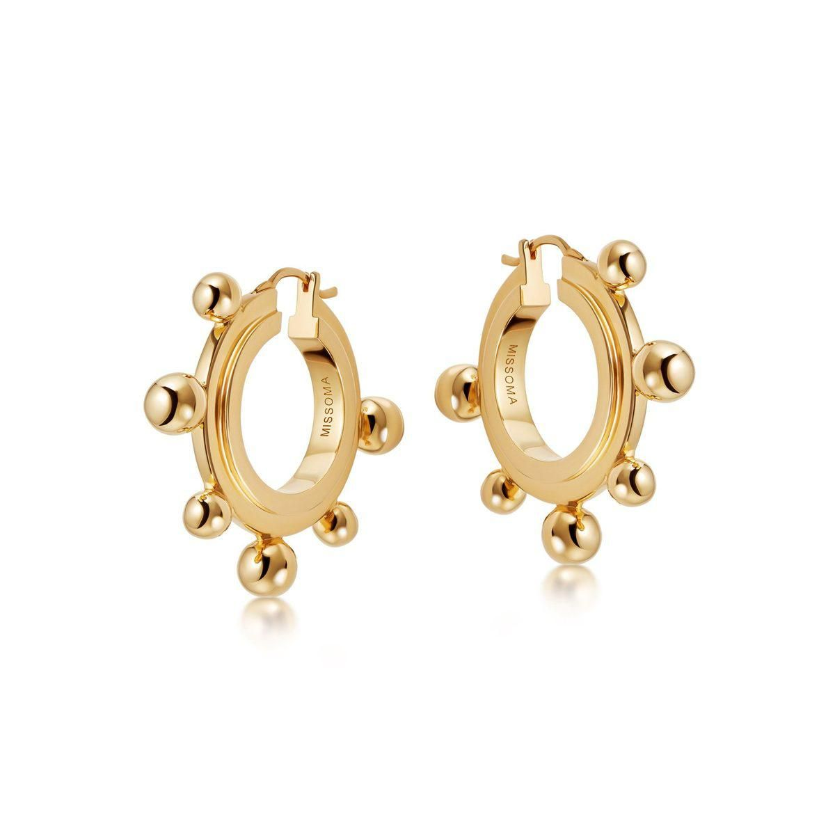 Gold Medium Sphere Hoop Earrings