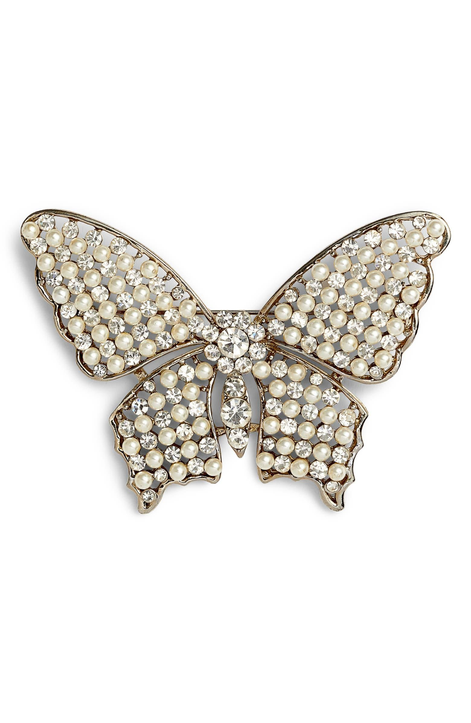 Faux Pearl and Crystal Butterfly Brooch