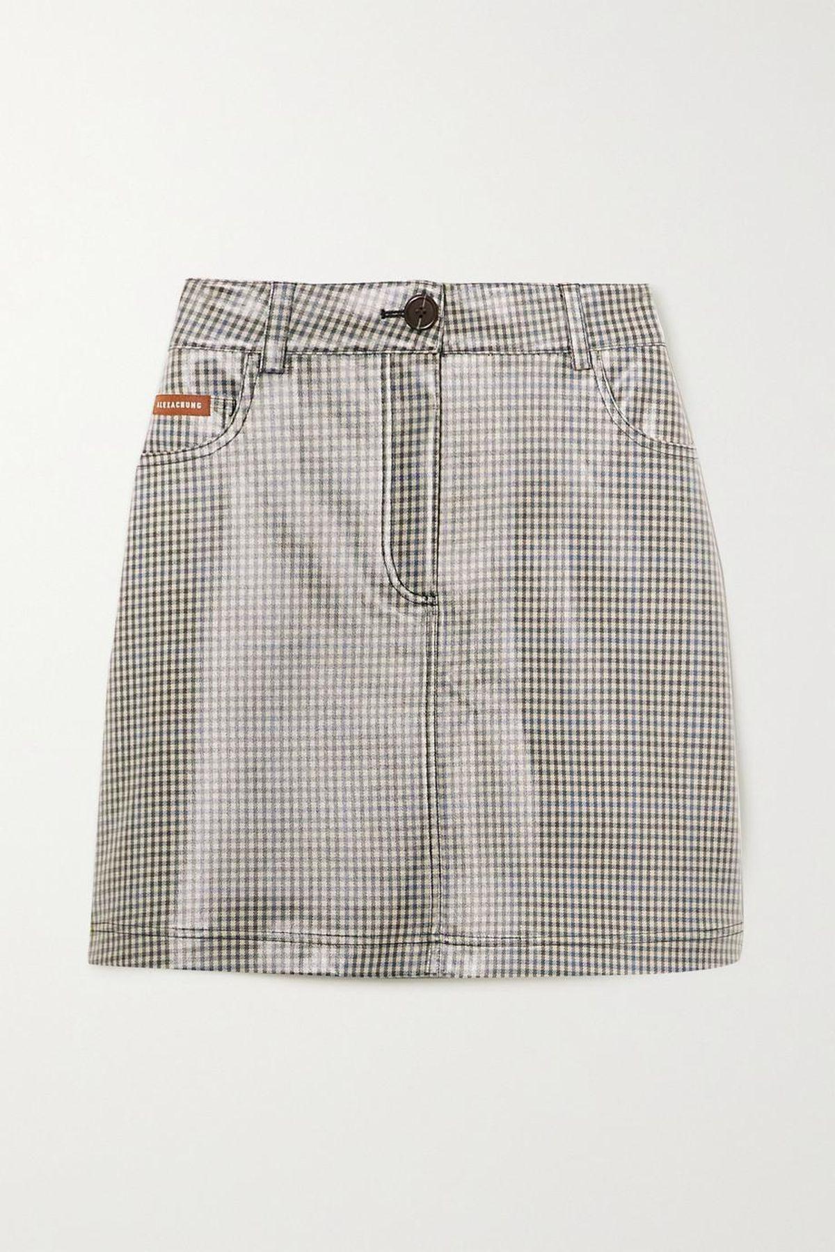 Check-Coated PU Mini Skirt
