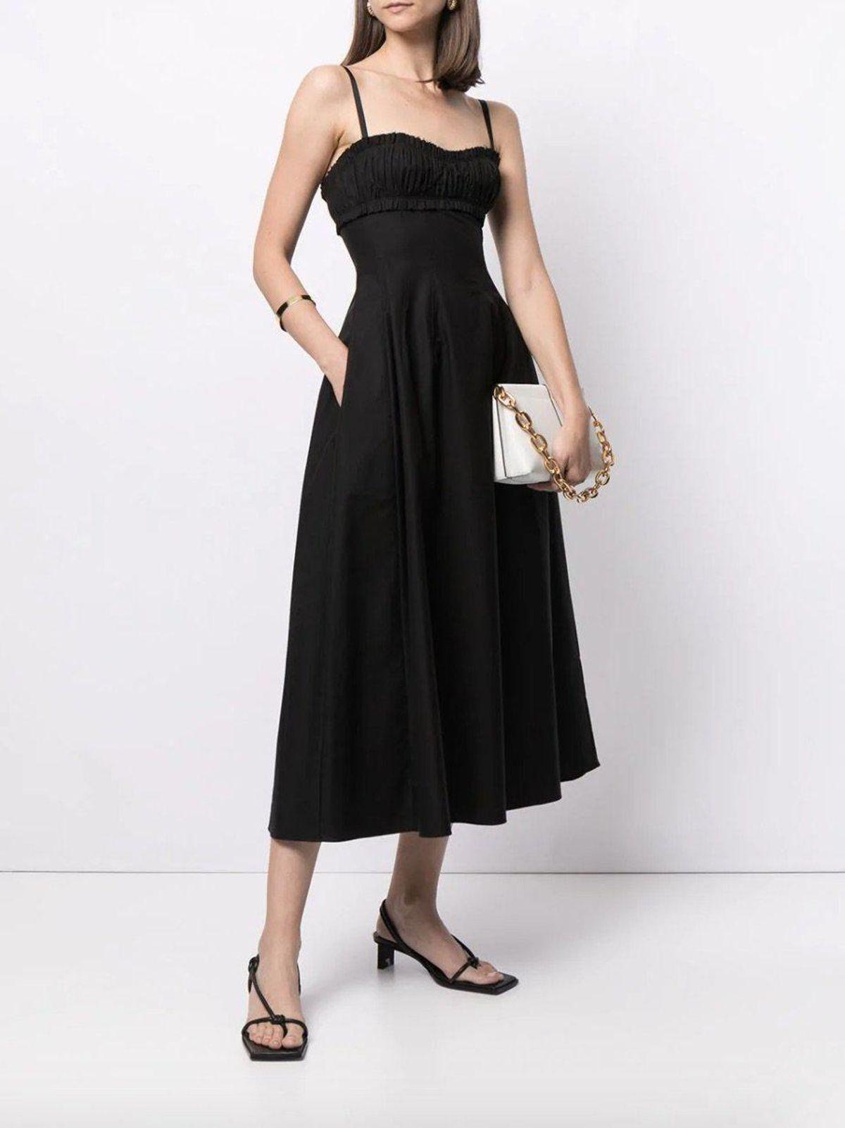 khaite felicia bustier thin straps dress