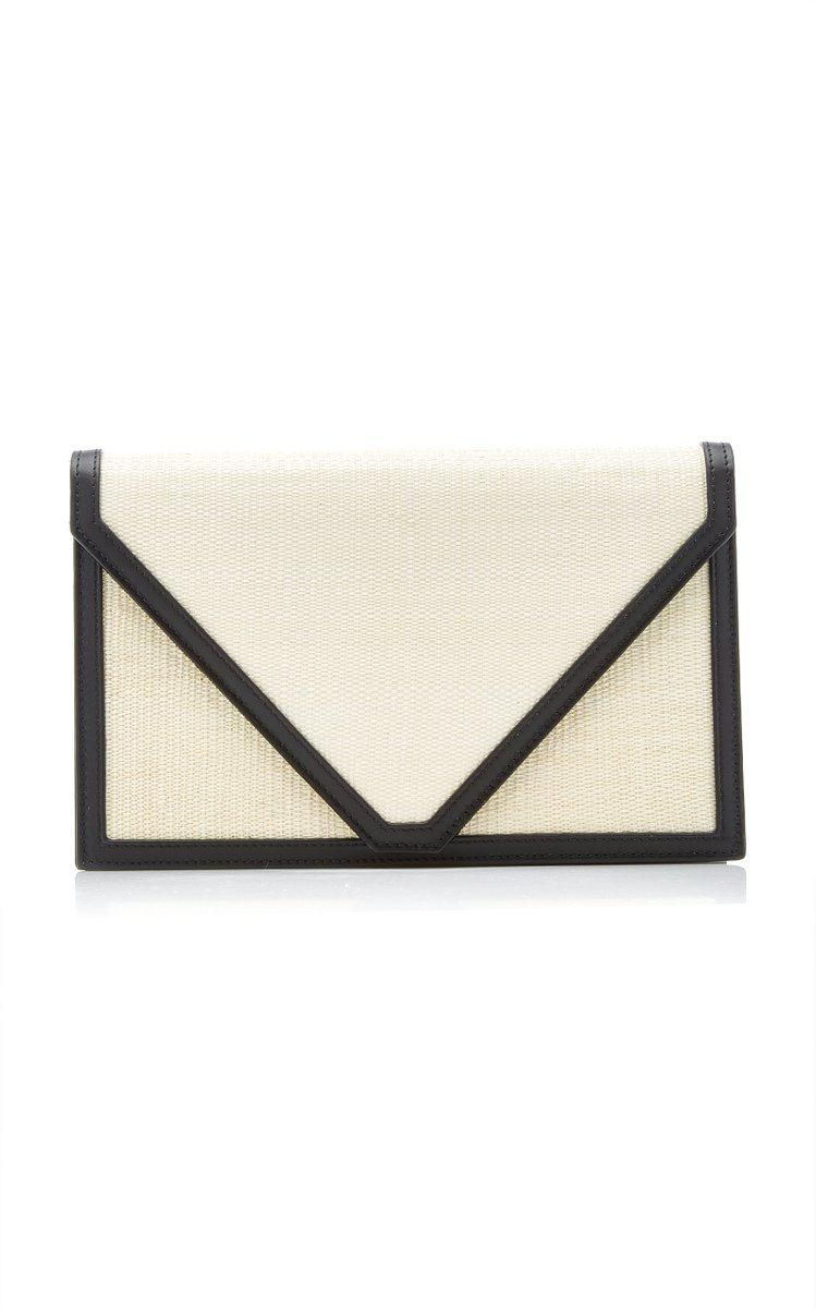 The Envelope Leather Trimmed Clutch