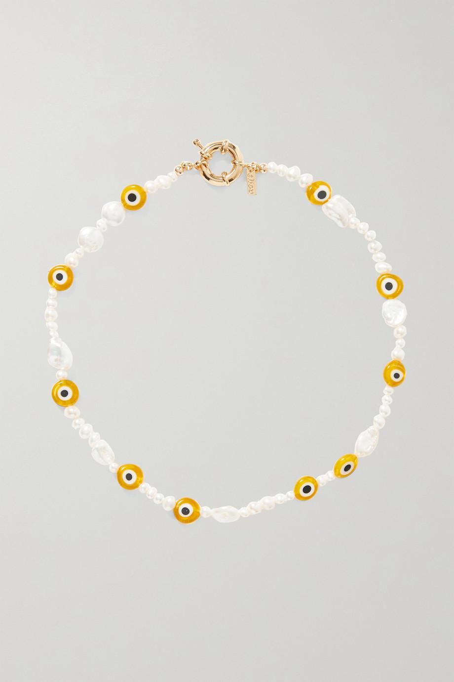 Gold Plated Pearl and Bead Necklace