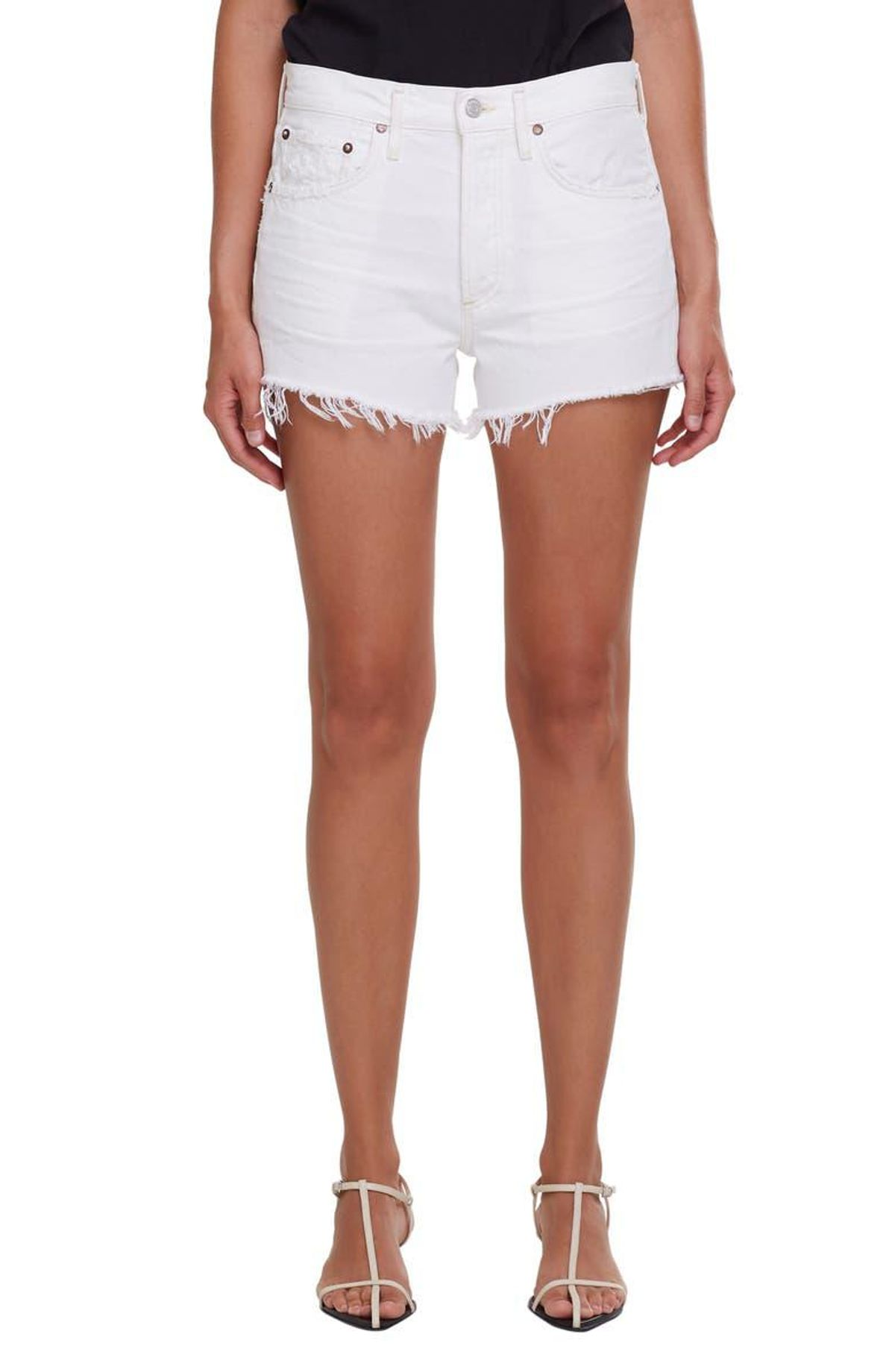 agolde parker high waist denim cutoff shorts