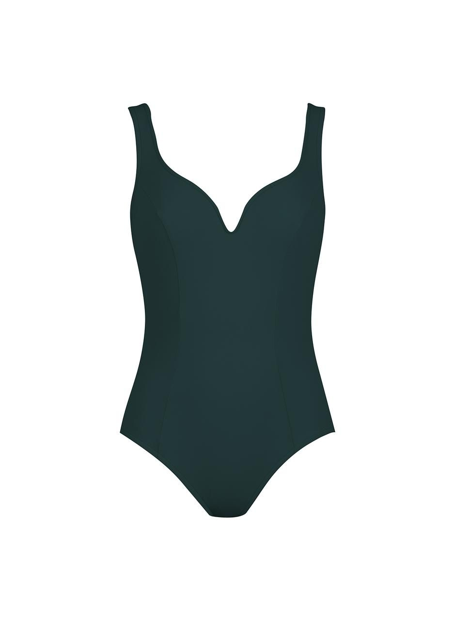 Ruched V-Neck Underwire Tank One-Piece Swimsuit