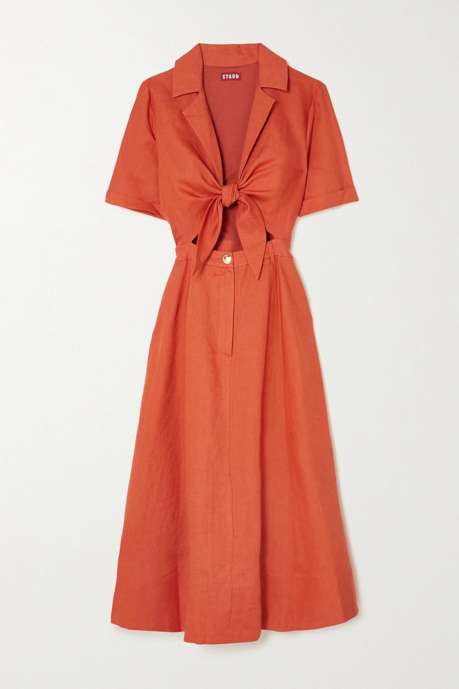 Giorgiana Cutout Linen Midi Dress