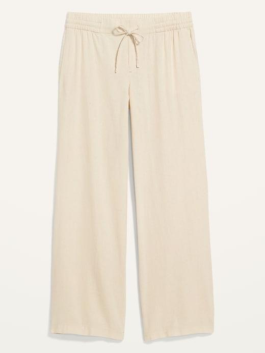 Mid-Rise Linen-Blend Pants