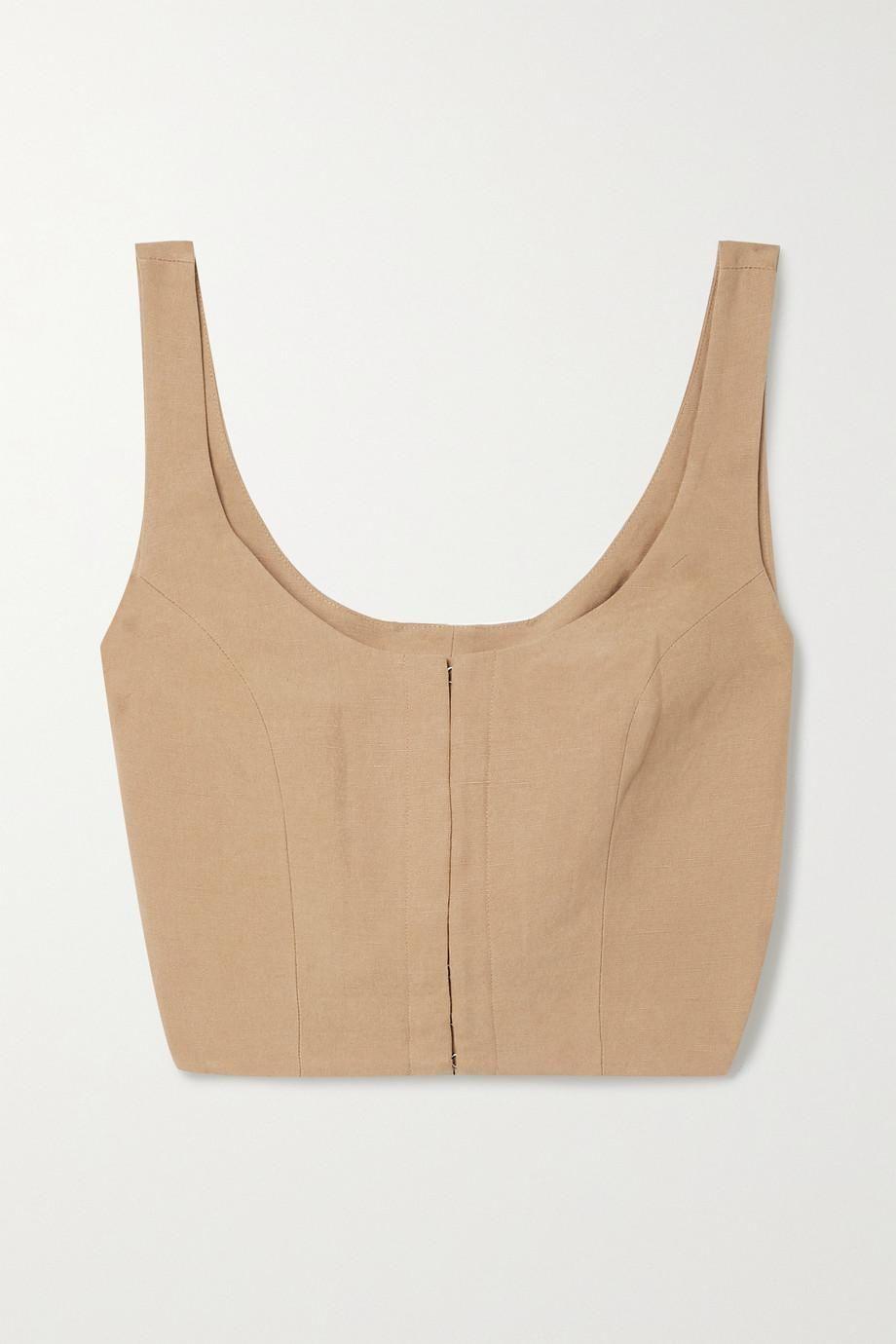 Aisha Cropped TENCEL and Linen-Blend Top