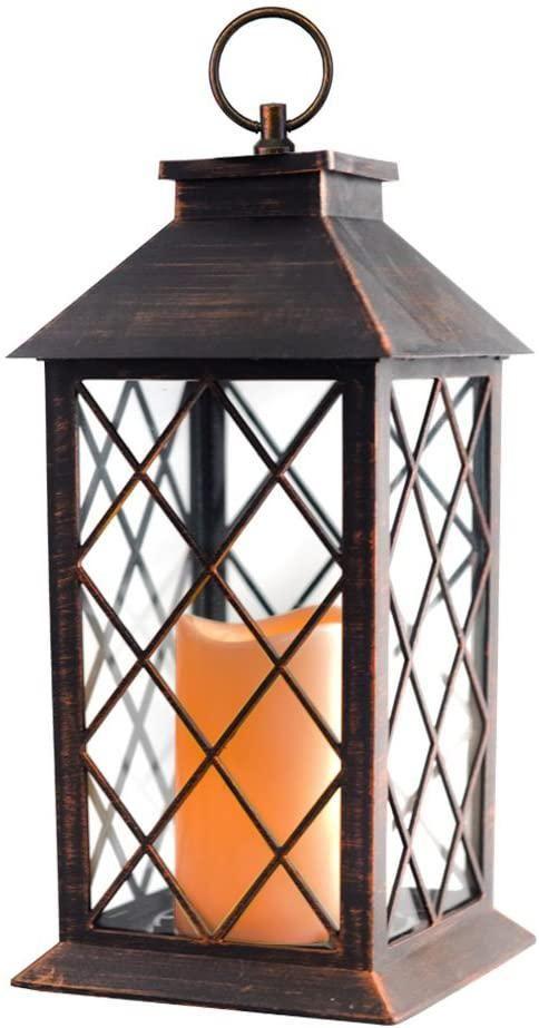 """14"""" Copper Brushed Vintage Candle Lantern"""