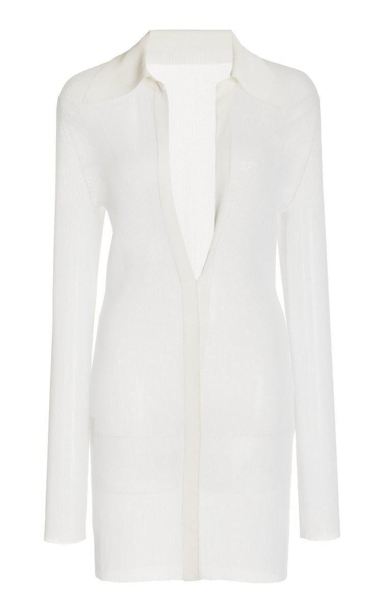 Jessica Sheer Knit Mini Shirt Dress