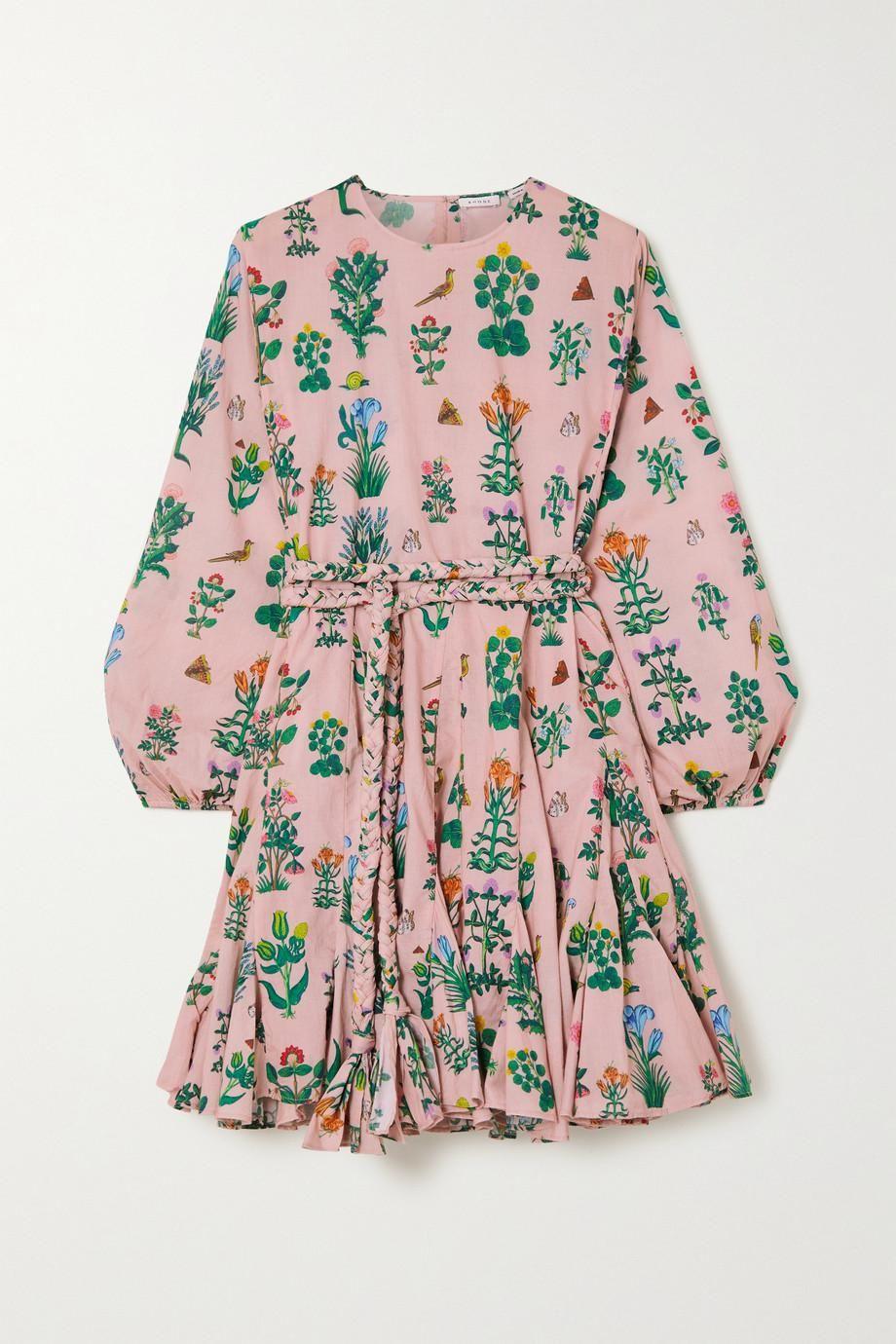 Ella Belted Floral-print Cotton-voile Mini Dress