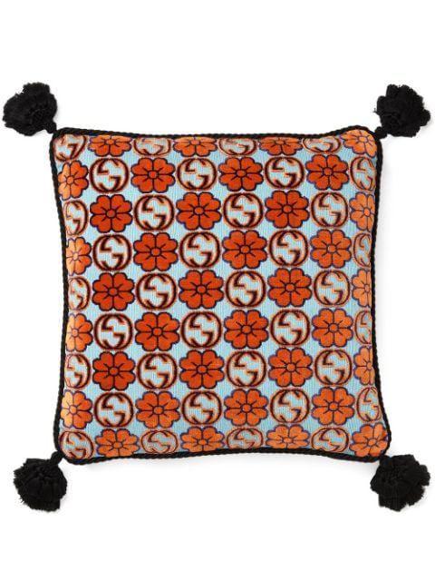 Floral Interlocking G Tartan Cushion