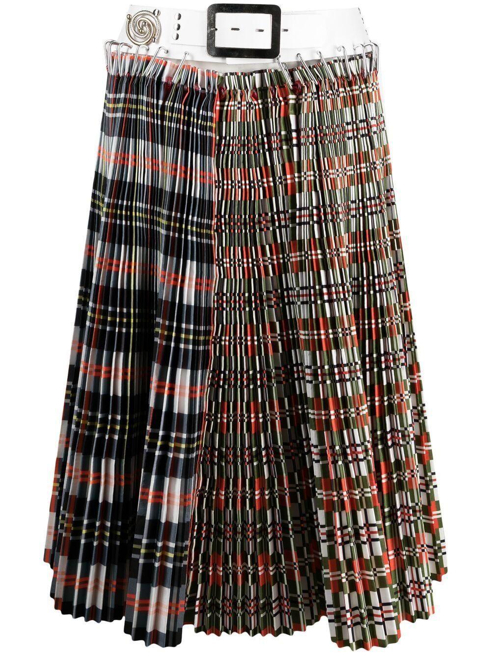 Double Plaid Pleated Skirt