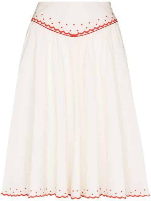 Embroidered Scallop Hem Skirt