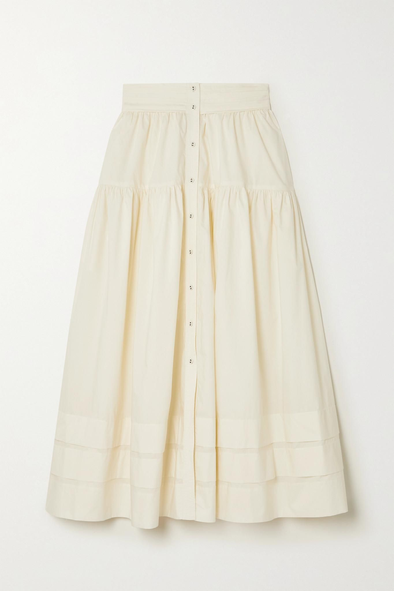Jacinta Tiered Cotton Poplin Midi Skirt