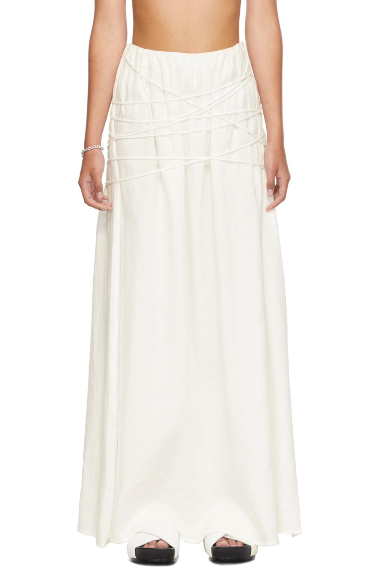 White Organic Linen Cleide Skirt