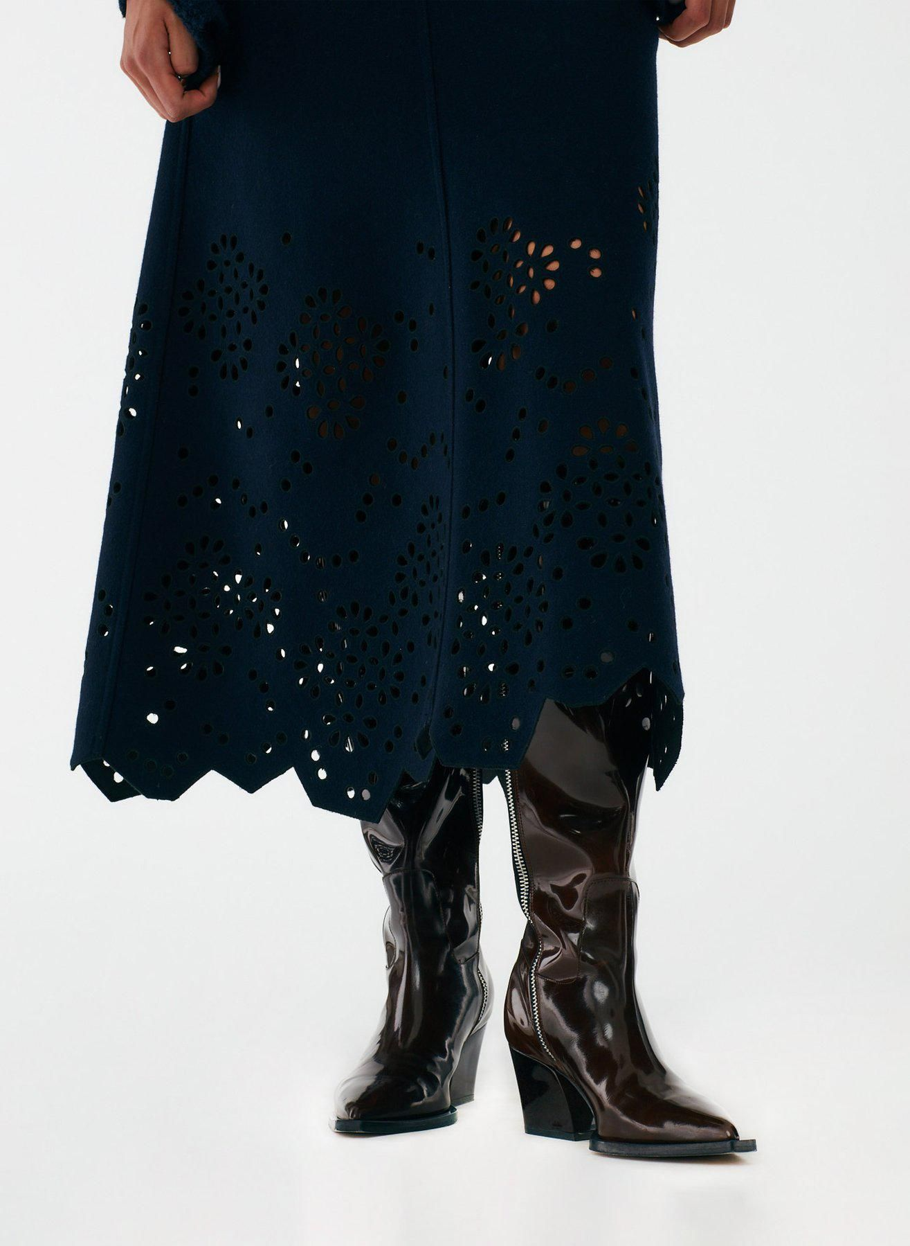 Eyelet Embroidery Felted Wool Maxi Skirt
