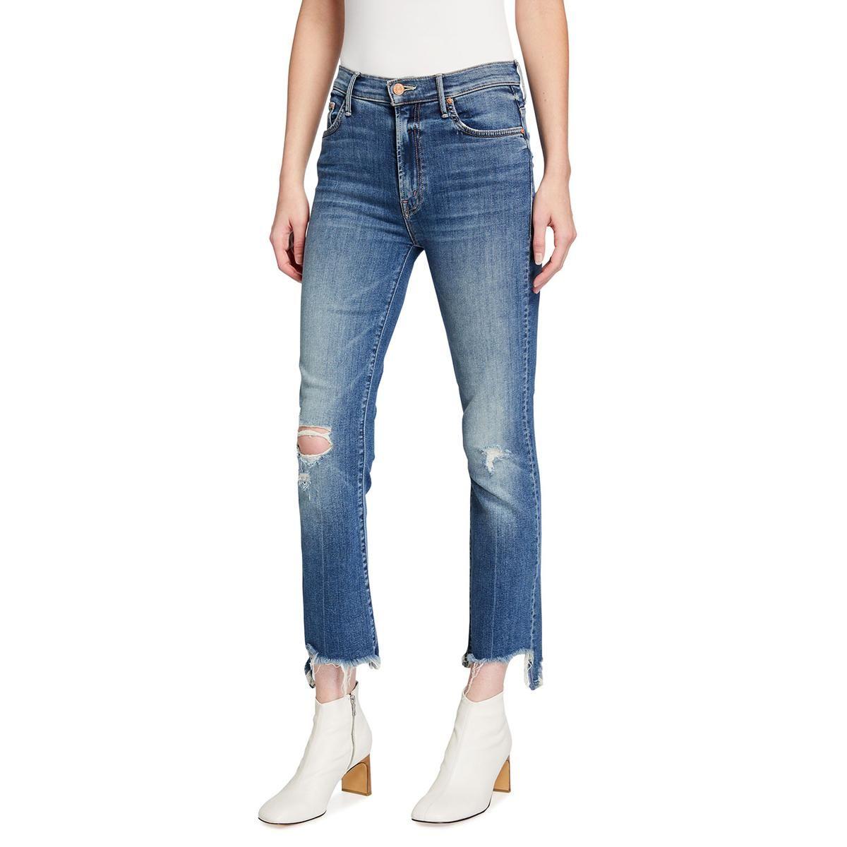 mother the insider crop step chewed hem jeans