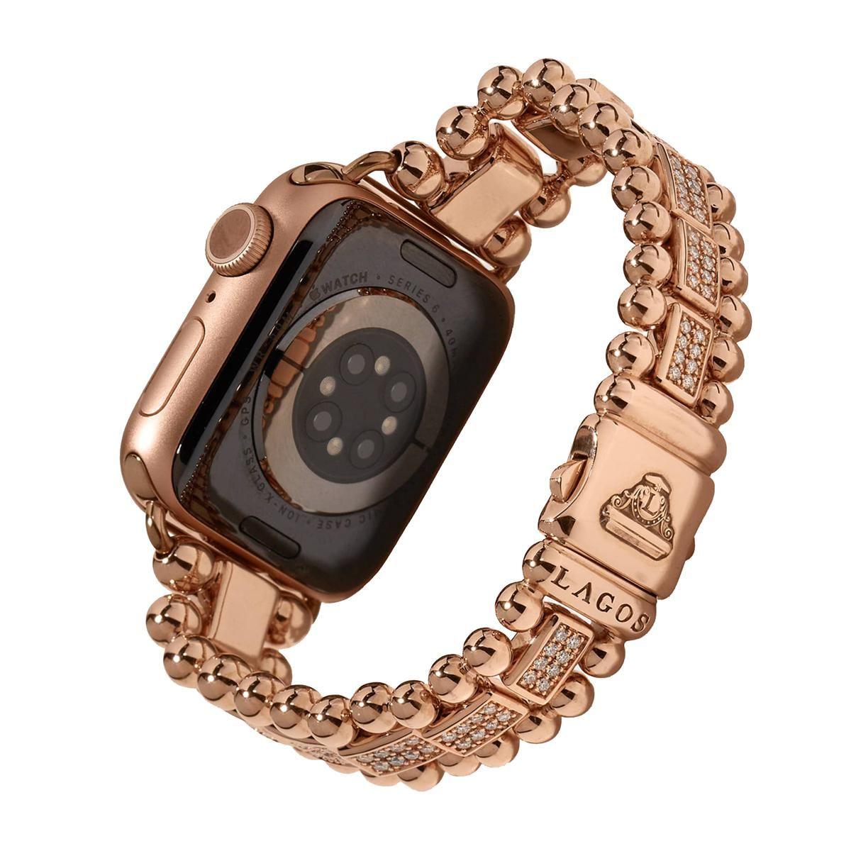lagos smart caviar 18k rose gold full diamond apple watch bracelet