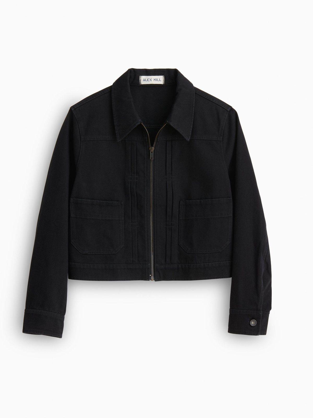 alex mill shrunken zip jacket in recycled denim