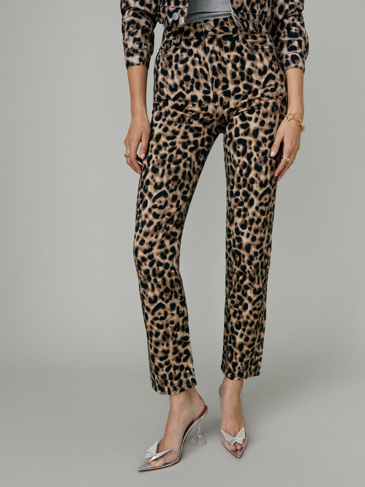 Leopard High Rise Straight Jeans