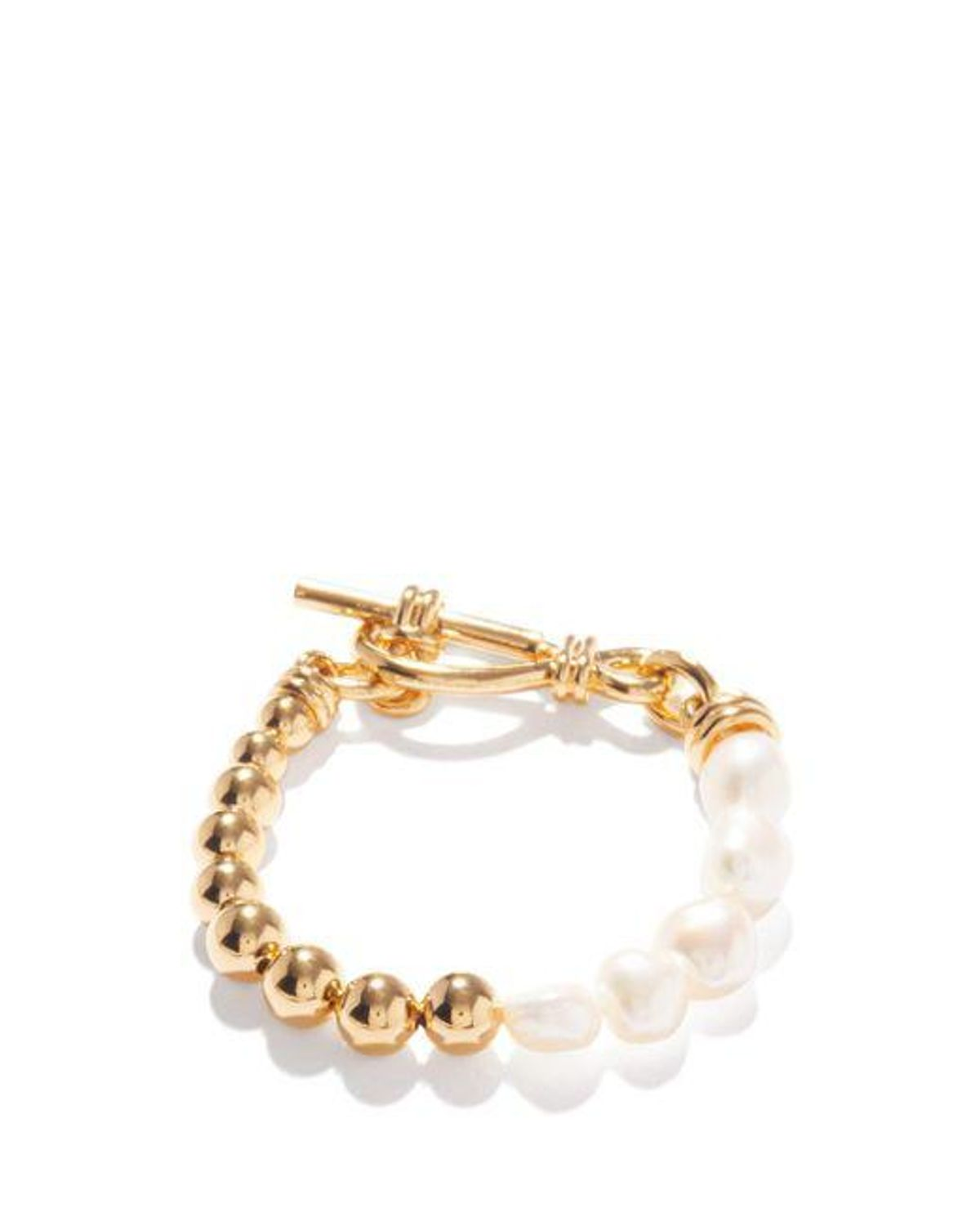 missoma metallic baroque pearl and 18kt gold plated bracelet