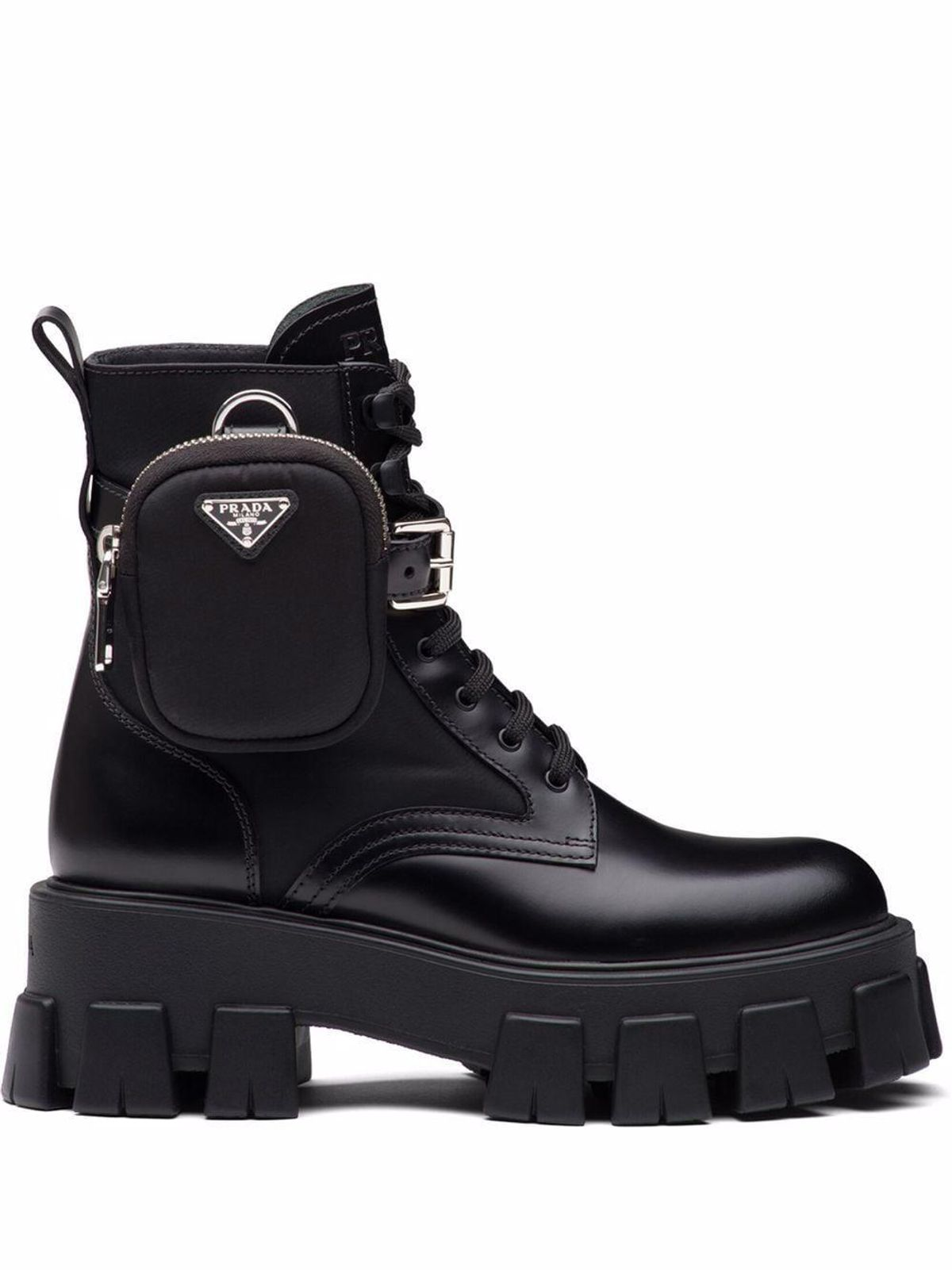 prada monilith lace up boots