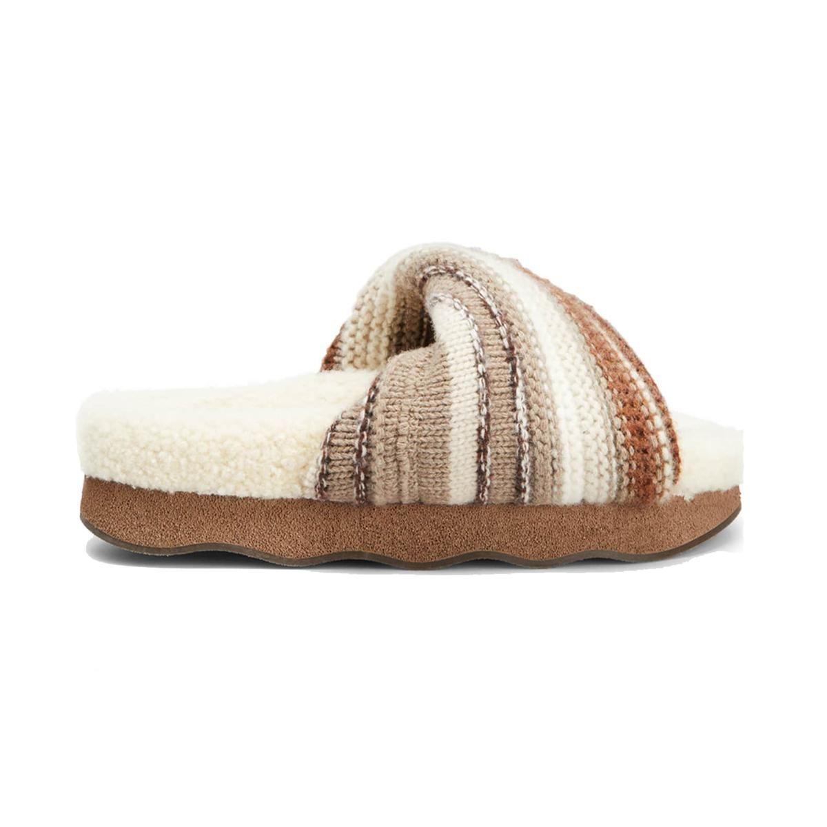 chloe cashmere knit shearling slide sandals