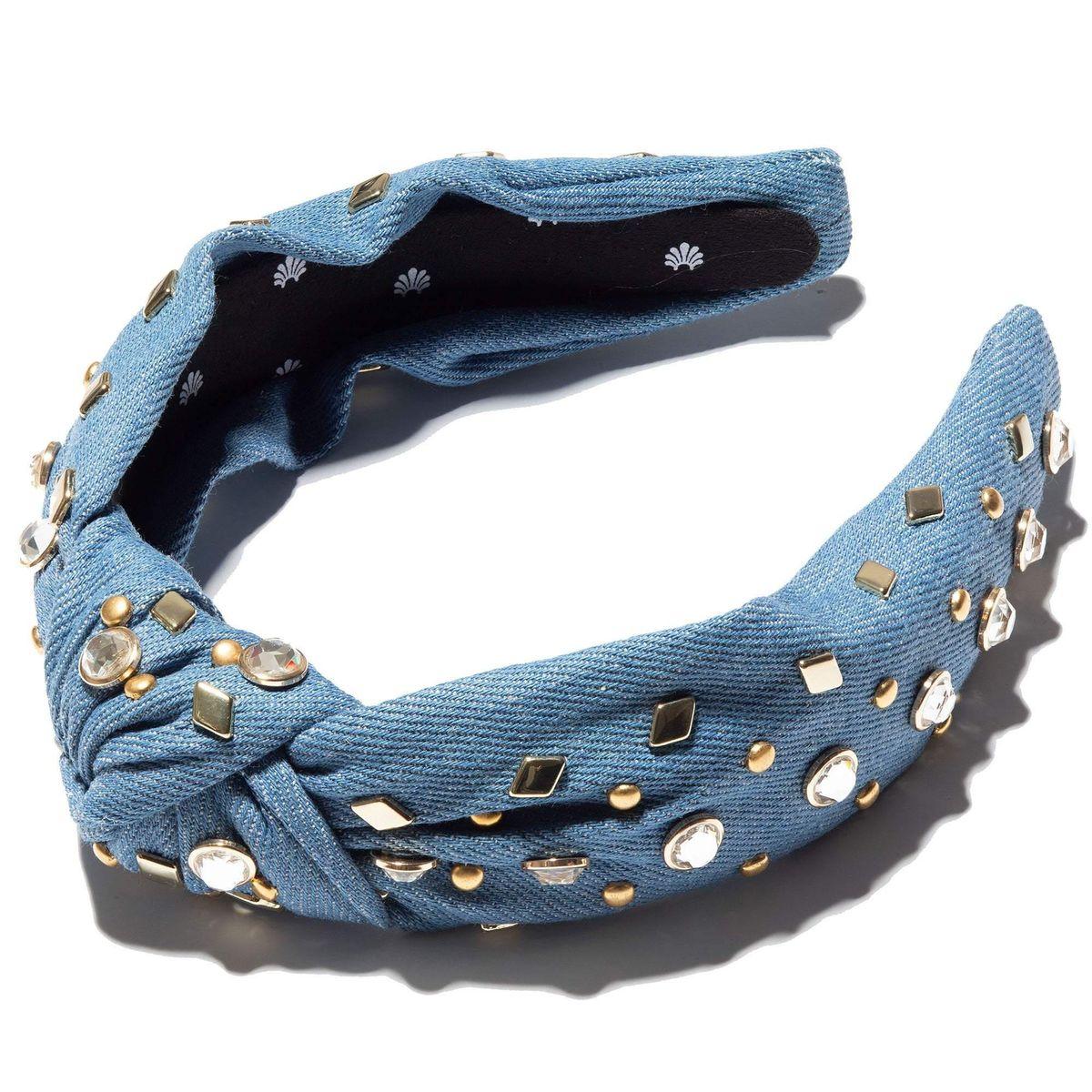 Denim Crystal and Stud Knotted Headband