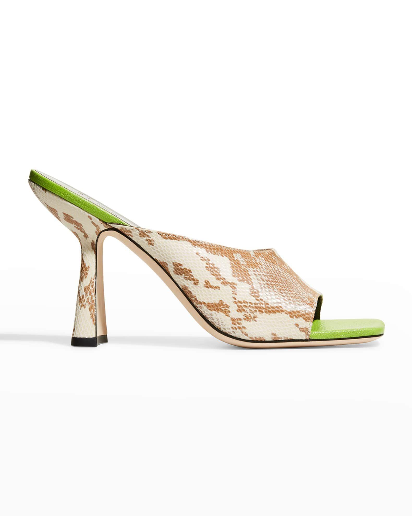 Zaya Snake-Print Slide High-Heel Sandal