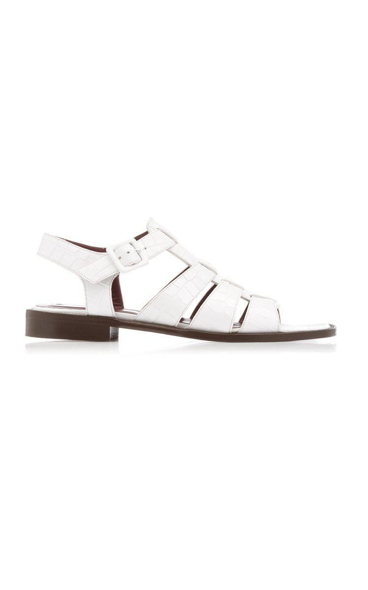Elsa Croc-embossed Leather Sandals